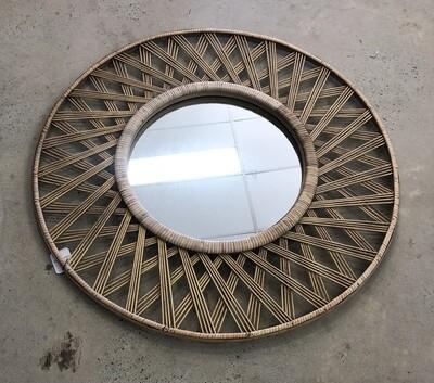 Round Woven Rattan Mirror