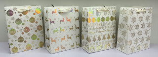 Christmas Gift Bag White and Gold - Medium - 4 Assorted Designs