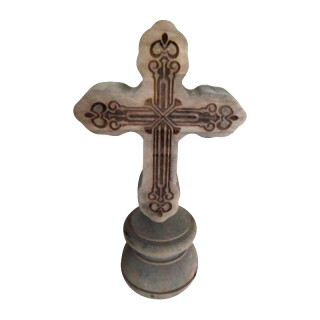Wooden Cross on Round Base