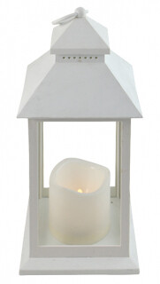 Antique White Lantern with Flameless Candle