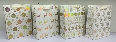 Christmas Gift Bag White and Gold - Bottle - 4 Assorted Designs