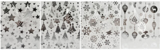 Christmas Gift Bag White and Silver - Small - 4 Assorted Designs