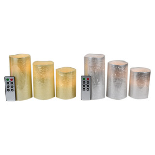 Set 3 Remote Controlled LED Pillar Candles - Gold or Silver