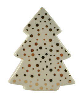 White Ceramic Christmas Tree with Gold Dots