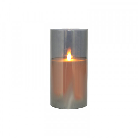 LED Glass Jar Smoke Pillar Candle