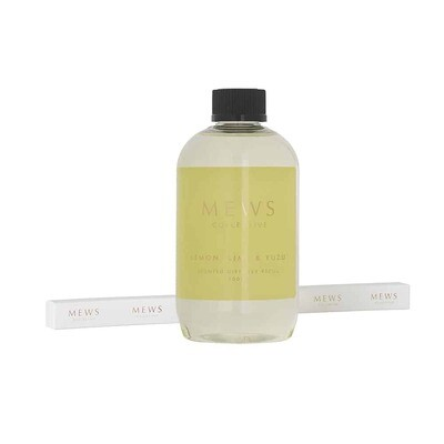 MEWS Scented Diffuser Refill Including New Sticks 500ml - Lemon, Lime and Yuzu