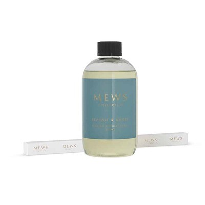 MEWS Scented Diffuser Refill Including New Sticks 500ml - Seasalt and Amber