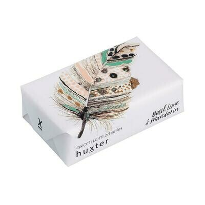 Huxter Wrapped Soap - 'Macaroni' - Feather - Basil, Lime and Mandarin