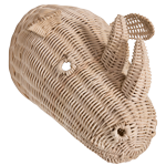 Rattan Rhino Wall Decor