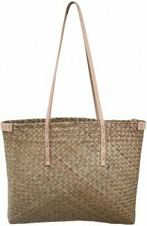 Woven Tote with Leather Strap