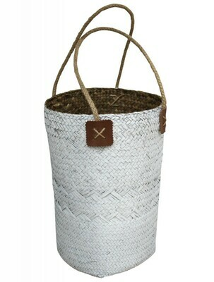 Woven Planter/ Carry Basket - White and Natural
