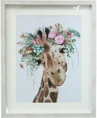 Wall Art Giraffe with 3D Flowers