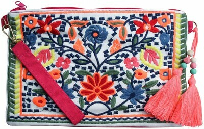 Clutch Embroidered Folksy Flowers with Tassel