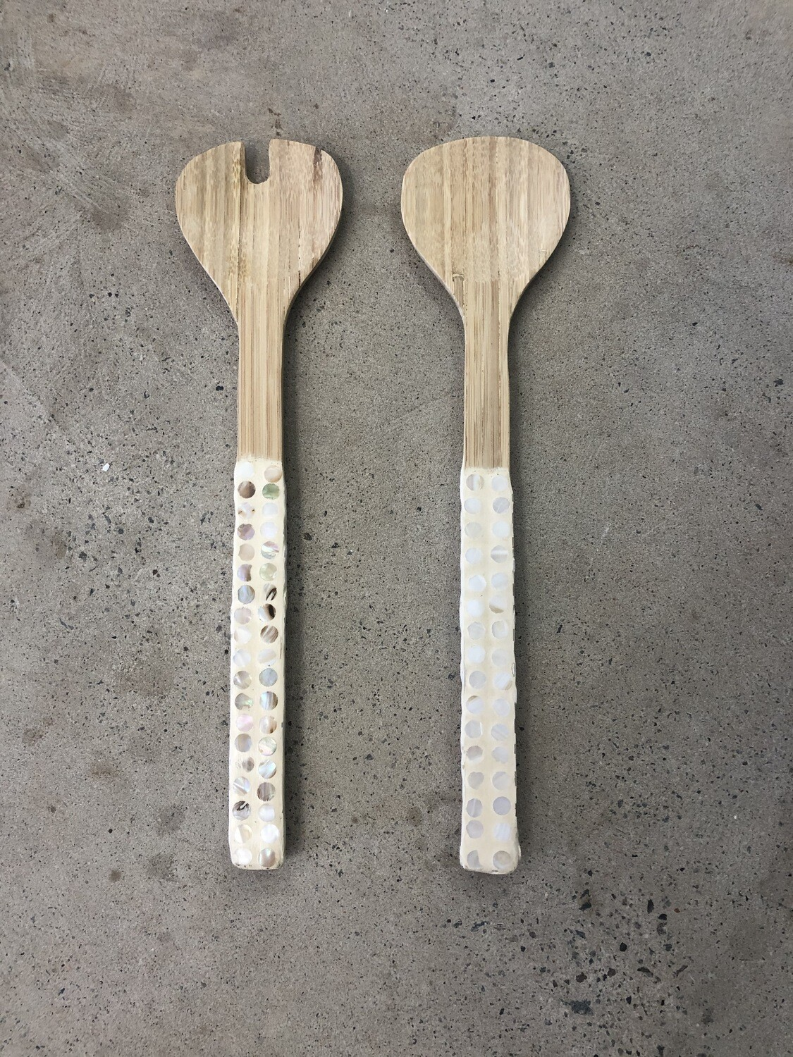 Bamboo Servers Set of 2 with Mother of Pearl Capiz Shell