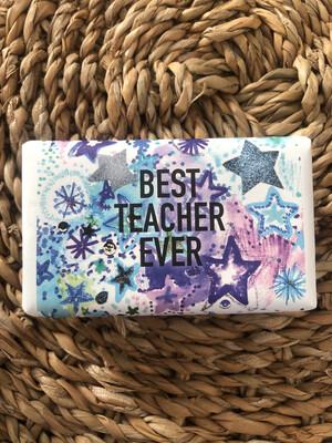 Huxter Wrapped Soap 'Stars Blue Best Teacher Ever' - Lemongrass
