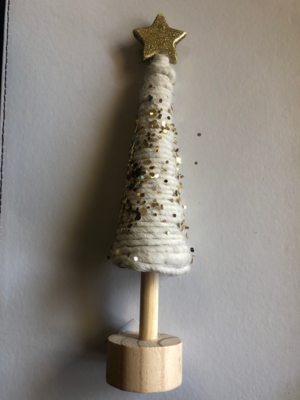White Wool Cone Christmas Tree With Gold Glitter