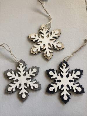 Snowflake Wooden Hanging Decoration - 3 Assorted Colours