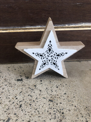 Wooden Light Up Star With Cut Outs 12cm