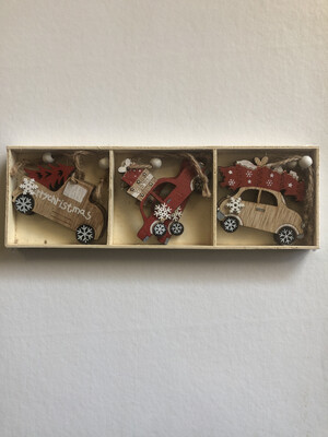 6 Piece Wooden Christmas Car Hanging Decorations