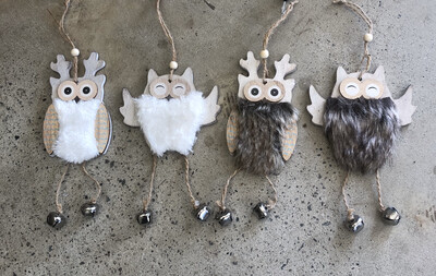 Wooden Owl Hanging Decoration 4 Assorted Designs