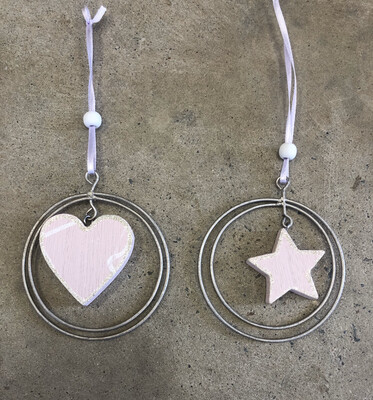 Wooden Pink Heart Or Star With Metal Ring Hanging Decoration
