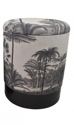 Vintage Tropical Black And White Storage Stool 30x30cm