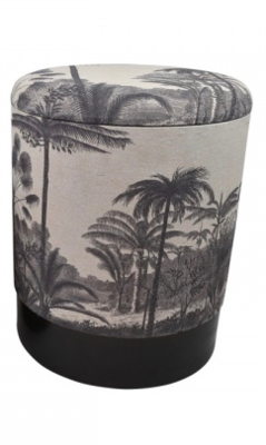 Vintage Tropical Black And White Storage Stool 35x44cm