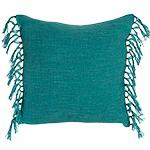 Cotton Slub Cushion With Fringing - Turquoise