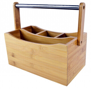 Bamboo Caddy 4 Sections With Handle