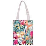 Paradise Print Bag With Pom Poms