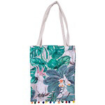Orrie Print Bag With Pom Poms