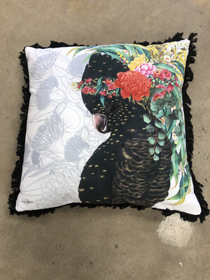 Native Black Cockatoo Cushion With Fringing 45x45cm