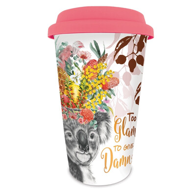 Double Wall Ceramic Travel Mug In Box - To Glam To Give A Damn Koala