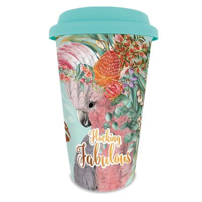 Double Wall Ceramic Travel Mug In Box - Flocking Fabulous Native Galah