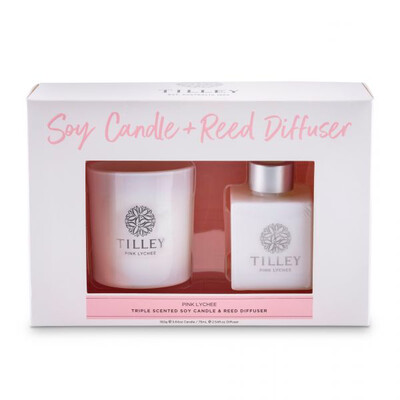 Tilley Candle And Reed Diffuser Gift Pack - Pink Lychee