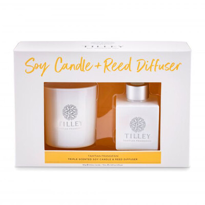Tilley Candle And Reed Diffuser Gift Pack - Tahitian Frangipani