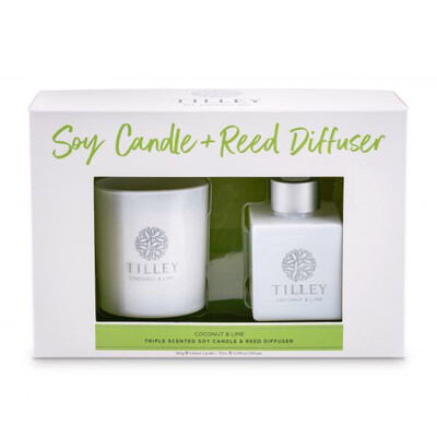 Tilley Candle And Reed Diffuser Gift Pack - Coconut And Lime