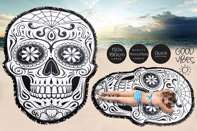 Skull Shaped Beach Towel With Fringe