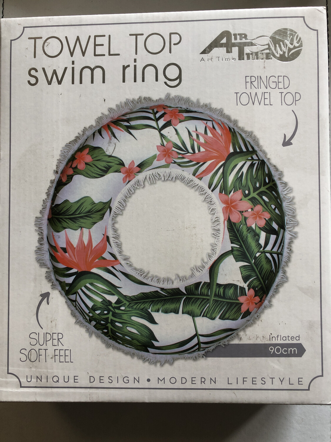 Swim Ring With Towel Top And Fringe 90cm