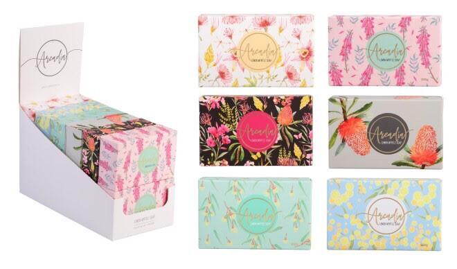 Arcadia Boxed Lemon Myrtle Soap 200g - Made In Australia - Assorted Native Designs