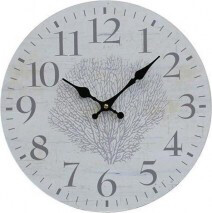 Clock Natural And Black 34cm