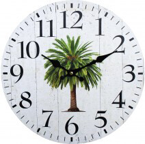 Clock Natural And Palm 34cm