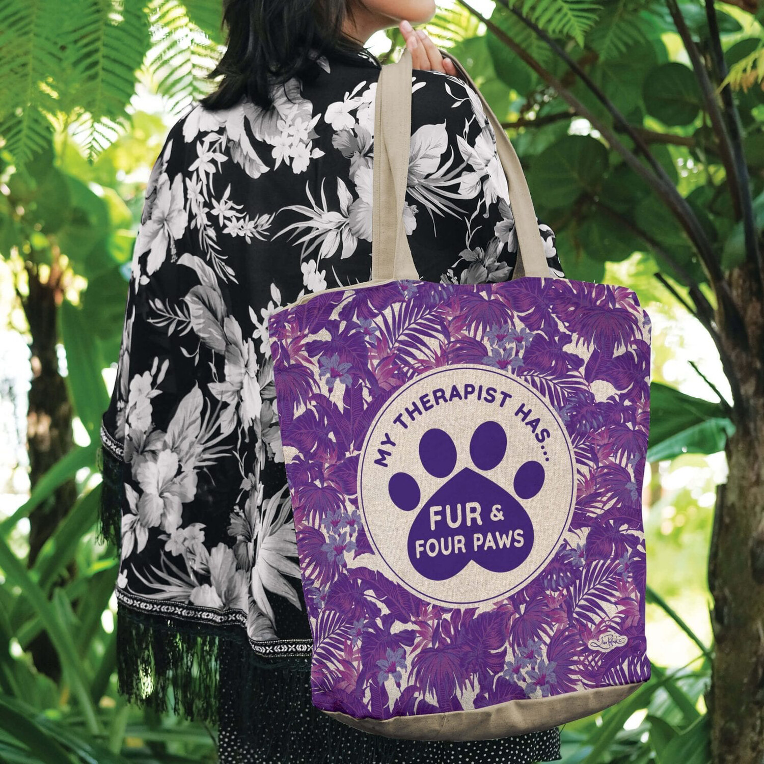 Lisa Pollock Linen/Poly Shopping Tote - My Therapist Has.... Fur & Four Paws