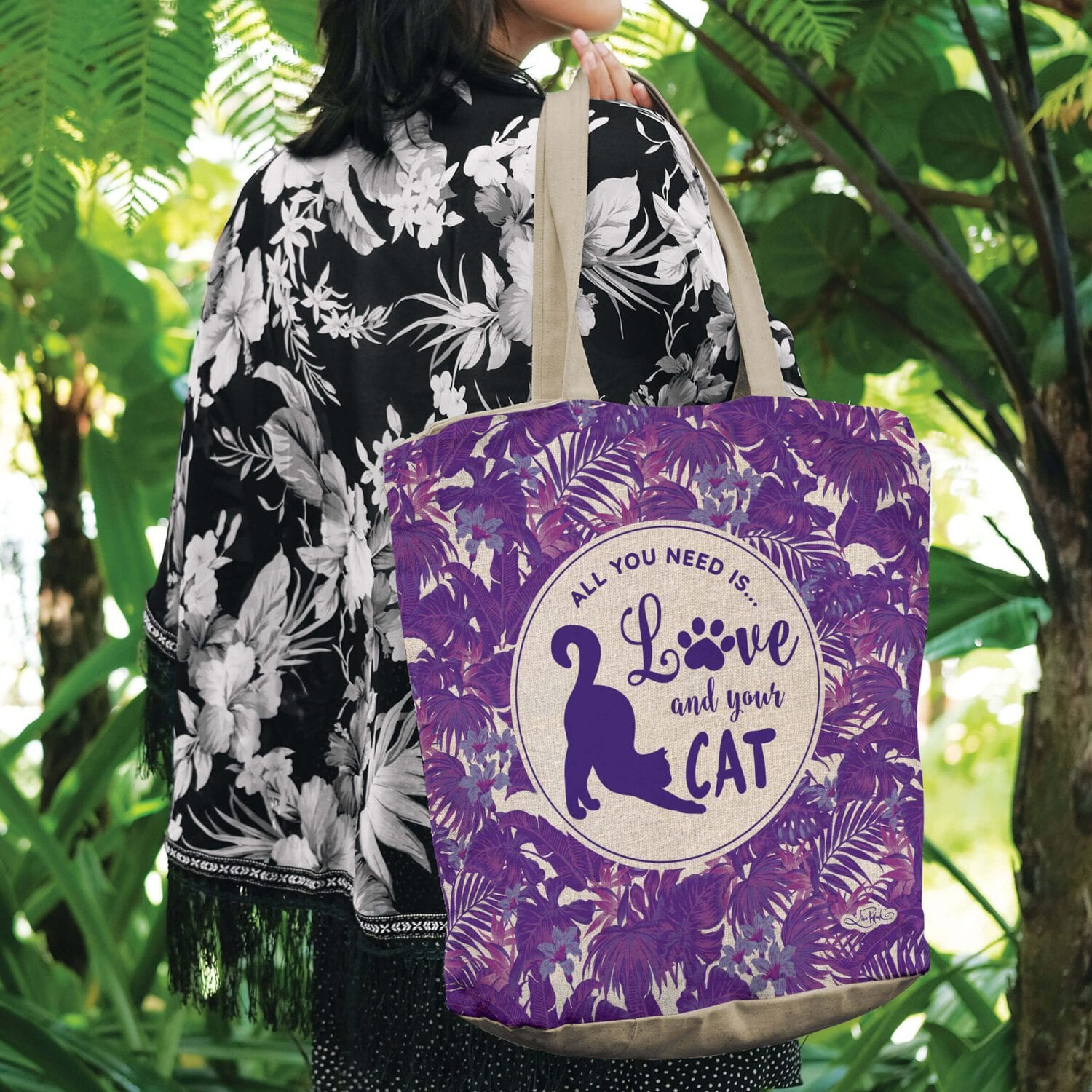 Lisa Pollock Linen/Poly Shopping Tote - All You Need Is Love And Your Cat