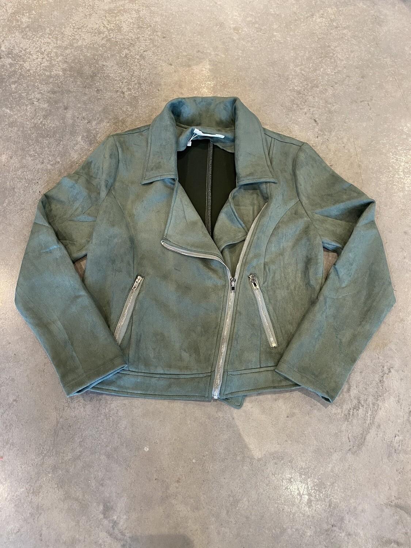 Suede Look Zip Jacket Moss Green A51140