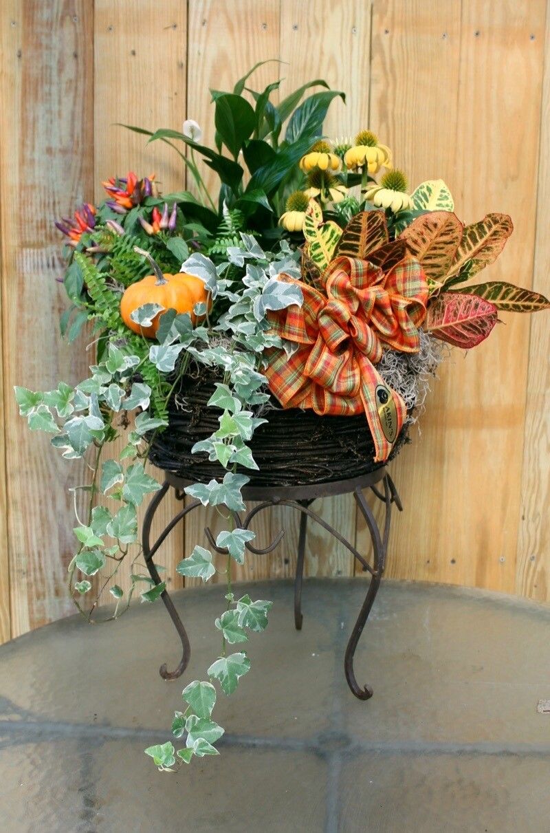 Large Seasonal Arrangement in Decorative Basket