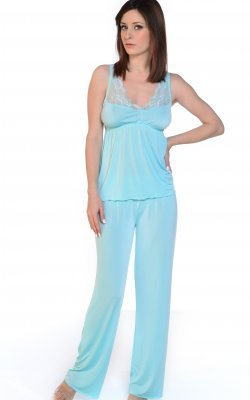 Built up lace Neckline PJ Set