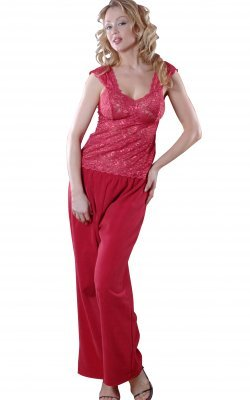 Stretch Lace Camisole With Polar Fleece Pant