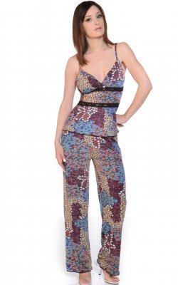 Printed Mico fiber Camisole PJ set with lace trims
