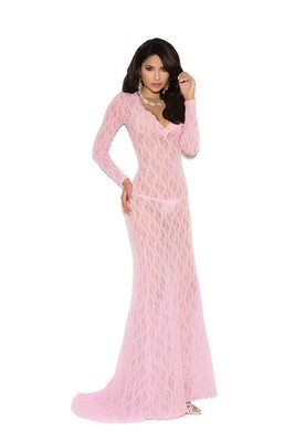 Long Sleeve Lace Gown with Deep V Front.